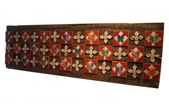 Quadro Decorativo De Demolição Modelo Porto Bello - 2,00 X 0,50 X 0,07 - Em Madeira Selecionada