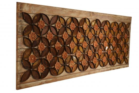 Quadro Decorativo De Demolição Modelo Floral Artístico - 2,20 X 80 X 0,06 - Em Madeira Selecionada