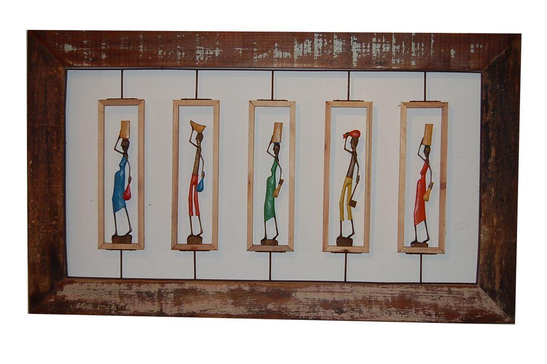 Quadro Decorativo De Demolição Vazado Modelo Retirantes - Com 5 Esculturas