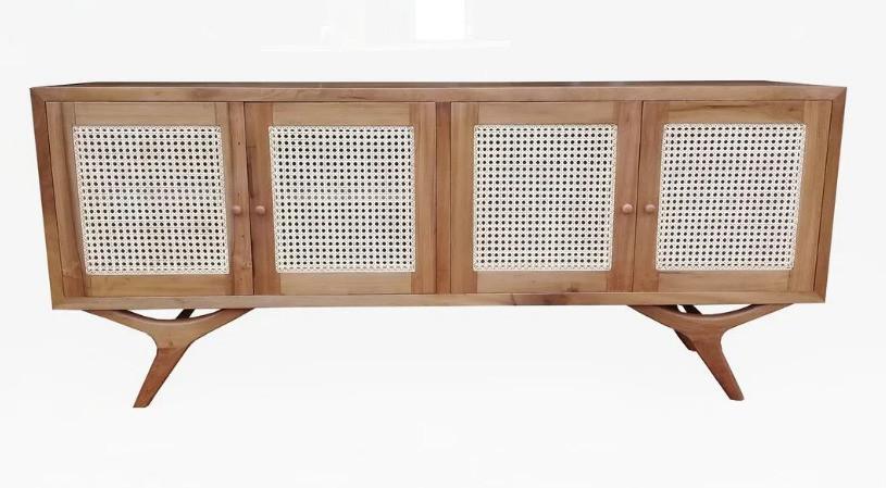 Rack / Buffet  De Demolição Modelo Alvorada - Com 04 Portas em Palhinha Natural