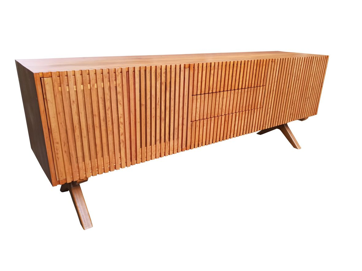 Rack / Buffet de Demolição Modelo Ibirapuera - 2,20 X 0,75 X 0,45 - Portas Riparas e Pés trabalhados - Em madeira Selecionada