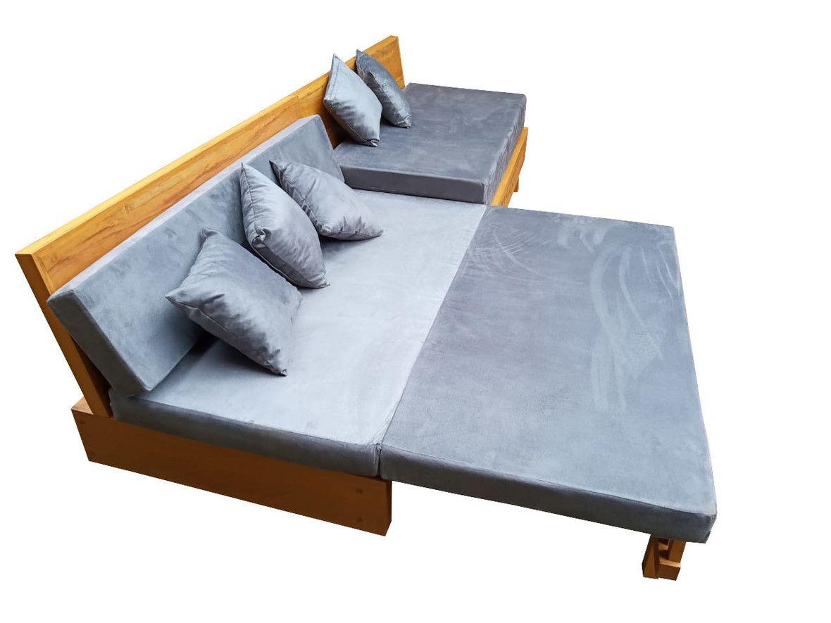 Sofá de Abrir de Demolição Modelo Praia - 3,00 X 0,35 X 0,90 - Com Futons e Almofadas Soltas