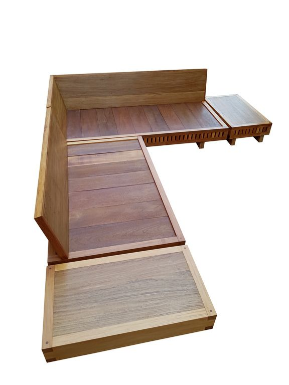 Sofá Em L De Demolição Modelo Praia - Com 02 Mesinhas Laterais - Em madeira Selecionada