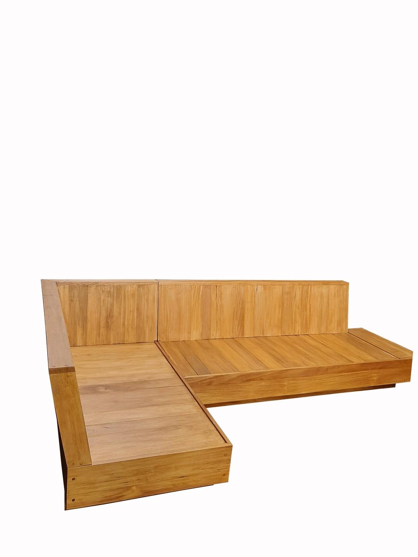 Sofá em L de Demolição Modelo Costa Verde - 2,00 X 1,50 x 60 alt. - Em madeira Selecionada