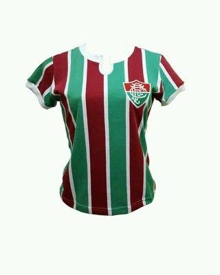 Camisa Fluminense 1976 Máquina Tricolor Número 2 Feminina