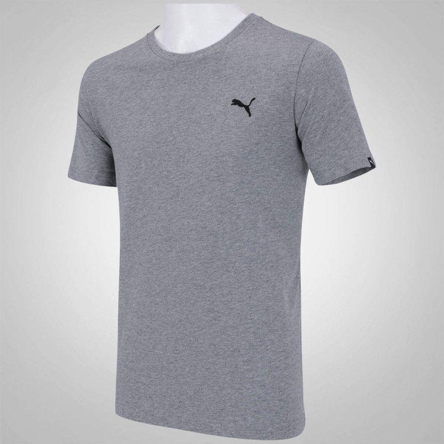 Camiseta com Manga Puma Algodão Logo Bordado Ombro Cód 838238 03 Cinza