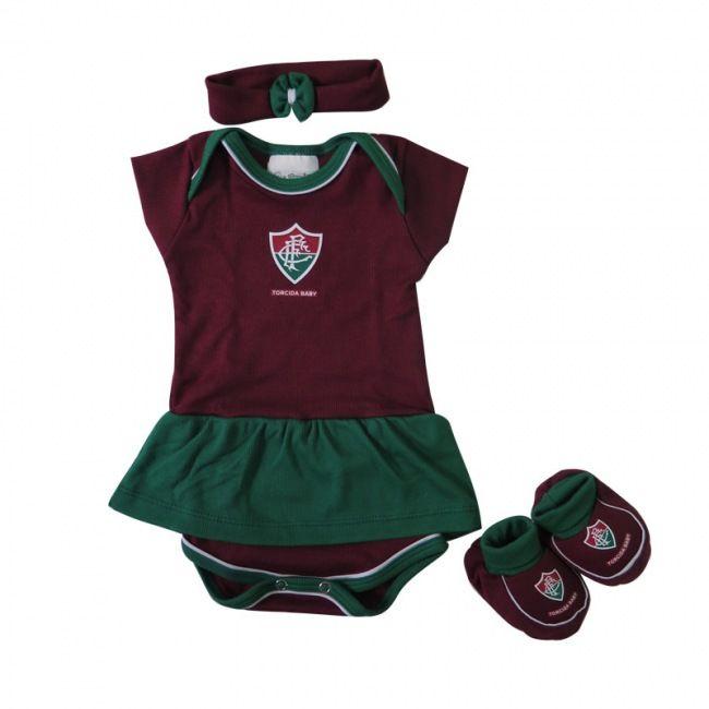 Kit 3 Peças Menina Fluminense Torcida Baby 033 B