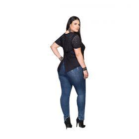 Blusa Buphallos Jeans Plus Size Brilho