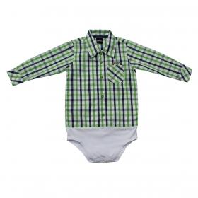 Body De Bebê Kenttana Manga Longa Masculino Xadrez Verde
