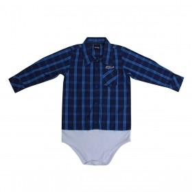 Body De Bebê Kenttana Masculino Xadrez Azul Marinho