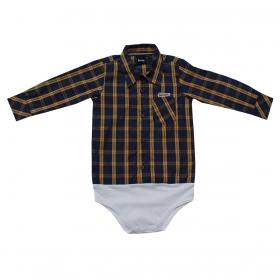 Body De Bebê Kenttana Masculino Xadrez Azul Marinho E Marrom