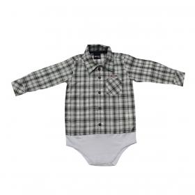 Body De Bebê Kenttana Masculino Xadrez Preto Manga Longa
