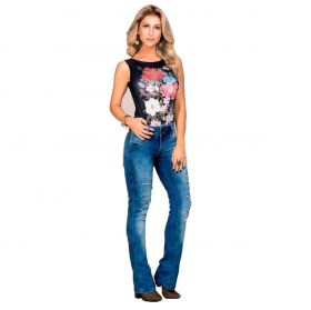 Body Feminino Buphallos Preto Estampado Flor