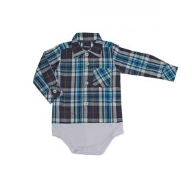 Body Kenttana Baby Xadrez Azul E Branco