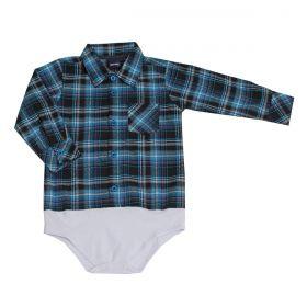 Body Kenttana Baby Xadrez Azul E Preto