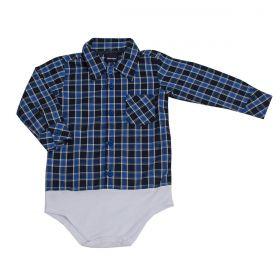 Body Kenttana Baby Xadrez Azul Manga Longa