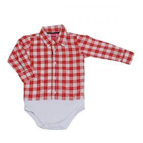 Body Kenttana Baby Xadrez Vermelho e Branco