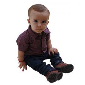 Body Kenttana Baby Xadrez Vermelho Manga Curta