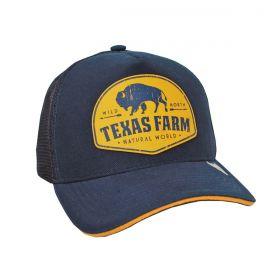 Boné Texas Farm Azul Marinho Logo Amarelo