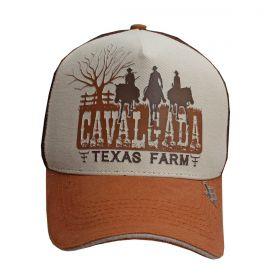 Boné Texas Farm Cavalgada Tela Marrom