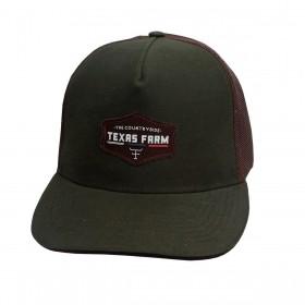 Boné Texas Farm Masculino Verde Com Tela Marrom