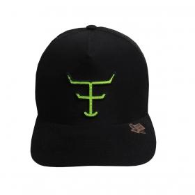 Boné Texas Farm Preto Logo Verde Neon