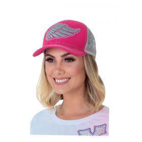 Boné Zenz Western Wing Pink Logo Cinza