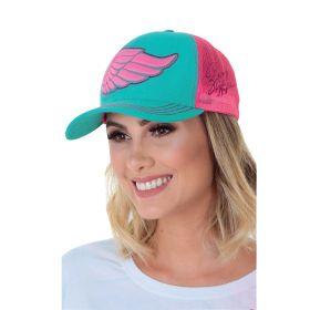 Boné Zenz Western Wing Turquesa Logo Pink