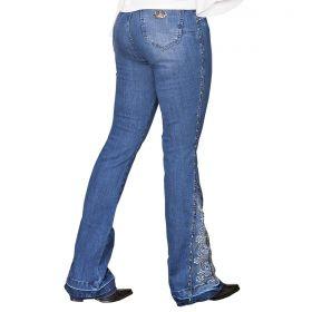 Calça Buphallos Jeans Flare Bordada E Com Taxas