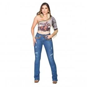 Calça Buphallos Jeans Flare Stone Com Bolso Bordado