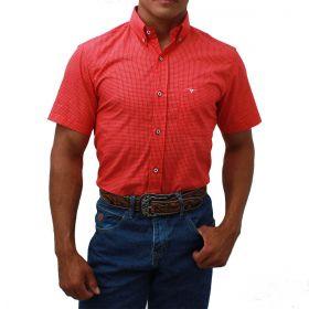 Camisa All Hunter Manga Curta Xadrez Vermelho