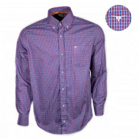 Camisa All Hunter Manga Longa Xadrez Azul e Roxo