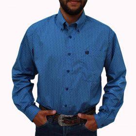 Camisa Cinch Masculina Importada Azul Floral