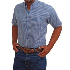 Camisa Classic Masculina Manga Curta Micro Xadrez Azul