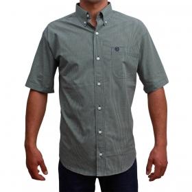 Camisa Classic Masculina Manga Curta Micro Xadrez Verde