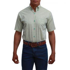 Camisa Classic Masculina Manga Curta Micro Xadrez Verde E Azul