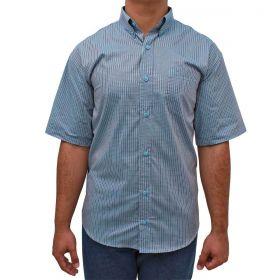 Camisa Classic Masculina Manga Curta Xadrez Azul