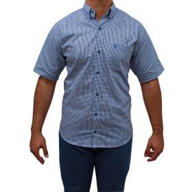 Camisa Classic Masculina Manga Curta Xadrez Azul E Branco