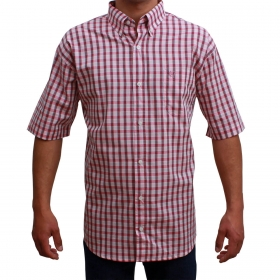 Camisa Classic Masculina Manga Curta Xadrez Rosa