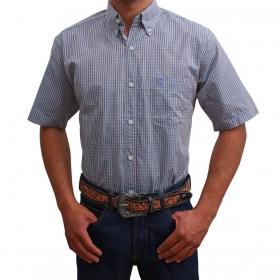 Camisa Classic Masculina Manga Curta Xadrez Turquesa E Roxo