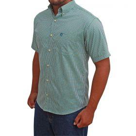 Camisa Classic Masculina Manga Curta Xadrez Verde