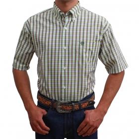 Camisa Classic Masculina Manga Curta Xadrez Verde Claro