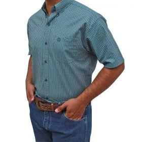 Camisa Classic Masculina Manga Curta Xadrez Verde E Laranja