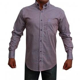 Camisa Classic Masculina Xadrez Manga Longa Roxo