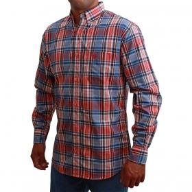 Camisa Classic Masculina Xadrez Salmão E Azul