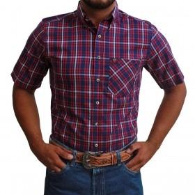 Camisa Manga Curta Os Vaqueiros Masculina Azul E Vermelho