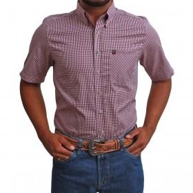 Camisa Manga Curta Os Vaqueiros Masculina Xadrez Rosa E Preto