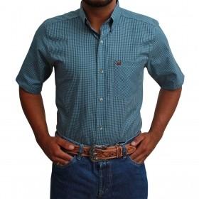Camisa Manga Curta Os Vaqueiros Masculina Xadrez Turquesa E Preto
