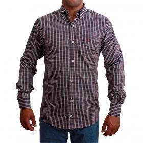 Camisa Masculina Classic Micro Xadrez Vermelho E Azul
