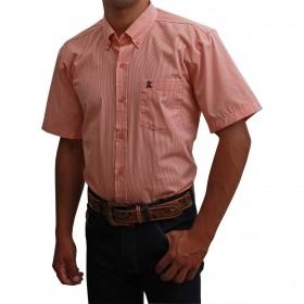 Camisa Masculina Manga Curta Os Coroné Micro Xadrez Laranja